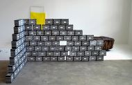 Untitled, 2014, cardboard bricks, 136x248x105cm