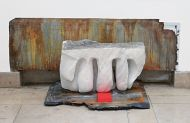 Master Student Price, UdK 2014, Installation Detail, Untitled, marble, slate, wood wedge and acrylic, 40x65x16cm