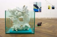 Installation Detail, Untitled, 2014, marble, glas and Styrodur, 80x77x52cm, in the back: works by Marc van der Hocht