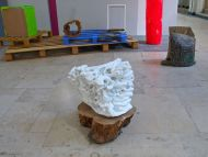 Installation View, Untitled, marble, cherrywood, 40x40x40cm